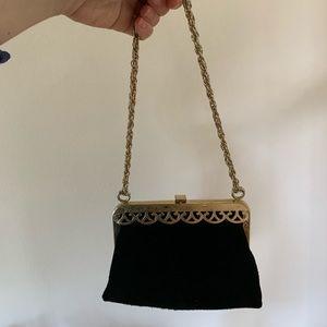 Handbags - Vintage Black suede purse handbag clutch bag gold